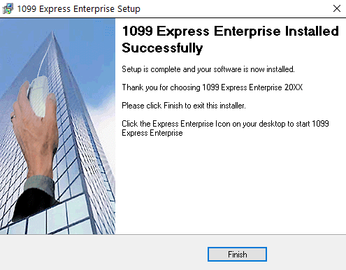 1099Express Installation Wizard Finished screen