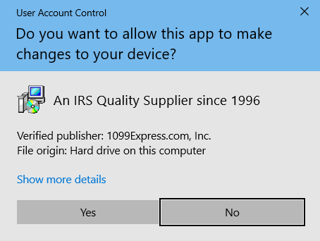 Windows 10 User Account Control for 1099express